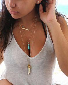 Layered SET of Four necklaces,swarovski birthstone,horizontal nameplate bar,turquoise pendant & large tusk,14Kt Gold Filled personalize,Boho