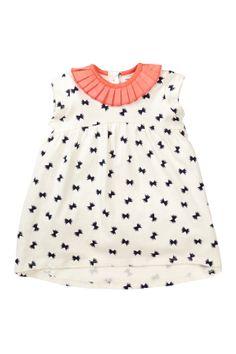 Ruffle Collar Bow Print Tunic/Dress (Baby Girls)//