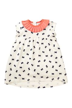Ruffle Collar Bow Print Tunic/Dress (Baby Girls)//