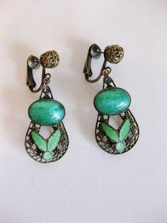 Art Deco Czech glass earrings, 1930's