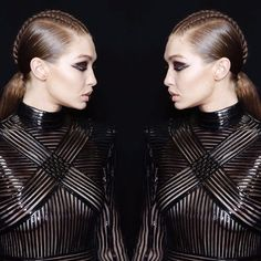 Mirror mirror on the wall who is the fairest Gigi of them all? BALMAIN REVIEW: @olivier_rousteing knows a thing or two about creating the ultimate Instagram moment and having @zayn sit front row to watch his model girlfriend @gigihadid was another such moment. Opening the show in a t-shirt tucked into a sequin skirt with the most bum grazing of boots Gigi set the tone for a wild foray back to the seventies. There were buckets of sequins plenty of fringing and a healthy dose of Zebra print…