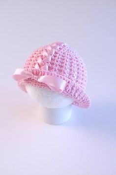 Best 10 Baby Girl Lace Crochet Pink Hat with Ribbon Lacing Photography Props Baby Girl Shower Gift Summer Hat Sun Hat Baby Girl Coming Home Hat Crocheted from cotton yarn of light pink color this cute baby girls hat features decorative ribbon lacing a Baby Girl Hats, Cute Baby Girl, Girl With Hat, Baby Girls, Baby Girl Crochet, Crochet Baby Hats, Sombrero A Crochet, Crochet Stitches For Beginners, Light Pink Color
