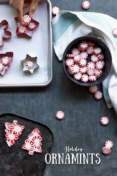Get extra festive this holiday with these creative and DIY peppermint ornaments. Plus, use Reynolds®️️ Cookie Baking Sheets so you can save time on cleanup// Christmas with Kids Kids Christmas Ornaments, Christmas Goodies, Christmas Treats, Christmas Holidays, Christmas Decorations, Diy Ornaments, Beaded Ornaments, Felt Christmas, Glass Ornaments
