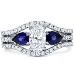 2.65CT Oval Diamond Pear Blue Sapphire 3Stone by Pompeii3 on Etsy, $5199.99 - All time favourite here!