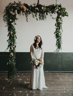 Hanging garland archway | Ceremony feature | Naturally beautiful wedding