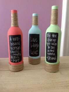 Fun chalkboard wine bottles. I may do this for oils and vinegars. Do It Yourself Fun Craft ideas – 37 Pics #recycledwinebottles