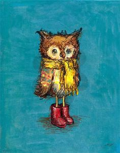 Owl in Big Red Boots, Animals Art Prints | Oopsy daisy