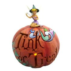 'Pumpkin Tink or Treat' - Tinker Bell as witch on Halloween pumpkin figurine (Jim Shore) from our Jim Shore Disney Traditions collection Disney Halloween, Halloween Fun, Halloween Decorations, Disney Fairies, Tinkerbell, Disney Classics Collection, Disney Pumpkin, Disney Home, Walt Disney