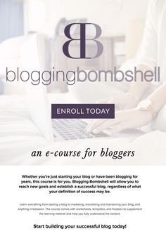 Blogging Bombshell is an e-course for bloggers. Learn about all things blogging, from getting started, to marketing, monetizing and maintaining your blog, and everything in between. The course comes with worksheets, templates, and freebies to supplement the learning material and help you fully understand the content. Click the pin to enroll today!