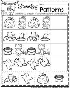 Preschool Pattern Worksheets for October.