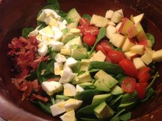 ♥ Paleo Cobb Salad ♥ 1 bag spinach & mixed greens ~ 1 avocado, chopped  ~ 1 apple, chopped  ~ 2 hard boiled eggs chopped ~ 4 slices of cooked bacon chopped ~ 12-15 cherry tomatoes, cut in half ~ Pecans or walnuts  ♥ For the dressing♥: ~ 1/2 lemon juiced ~ 2 tablespoons Dijon mustard ~ 2 tablespoons olive oil ~ 1 tablespoon balsamic vinegar ~ 1/2 tsp garlic