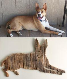 Custom made dog. Made from repurposed weathered barn wood.