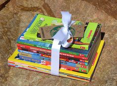 End of year teacher gift - stack of new books for the classroom!