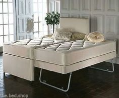 3FT SINGLE PULL OUT TRUNDLE DIVAN GUEST BED WITH QUILTED MATTRESSES AND HEADBOARD