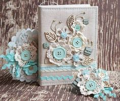 Altered Composition Books, Altered Books, Notebook Covers, Journal Covers, Mini Albums, Fabric Book Covers, Doilies Crafts, Diary Covers, Fabric Journals