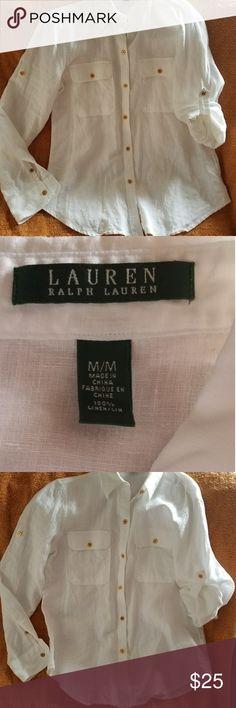 Ralph Lauren White Linen shirt. Tunic length,  gold buttons,  very versatile. Breast pockets. Like new condition! Ralph Lauren Tops Button Down Shirts