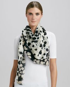 Animal-Print Square Scarf, Natural/White by Burberry at Neiman Marcus.
