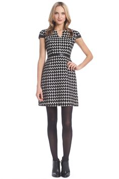 Houndstooth Jacquard Leather Combo Reade Dress