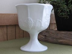 Westmoreland Milk Glass Compote Paneled Grapes by LazyYVintage