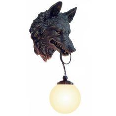 Wolfskopf Wandlampe Wolf Bronze Farben