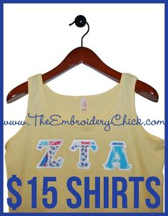 $15 applique stitched letter sorority shirts! Lilly Pulitzer,  Vera Bradley, Vineyard Vines and more!!