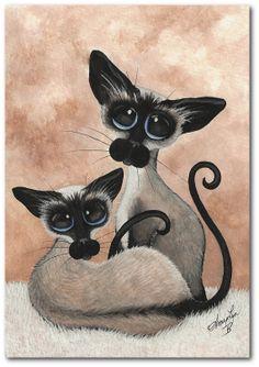 Siamese Cat  Sealpoint Siblings ArT   5x7 by DreamCatchingStudio
