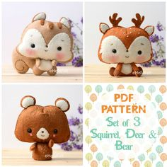 Sewing Stuffed Animals These PDF sewing patterns are to make a Woodland Series Part Squirrel, Deer and Bear from felt. These are a hand-sewn and hand embroidered felt plush patterns. Sewing Toys, Sewing Crafts, Sewing Projects, Felt Animal Patterns, Stuffed Animal Patterns, Felt Diy, Felt Crafts, Sock Crafts, Chat Crochet