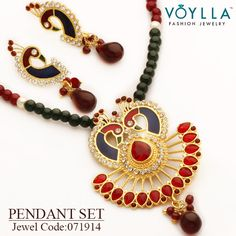 Shop here: http://www.voylla.com/products/peacock-inspired-scintillating-pendant-set Jewel Code :071914 ‪ #‎alwaysbeautiful‬ ‪#‎jewelry‬ ‪#‎voylla‬