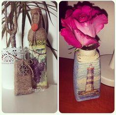 Un cadou dragut ce poate fi personalizat pentru cei dragi #handiamade #handmade #handia #decoupage #decor #gift #cadou #bottle #idee #decoratiuni #decoration