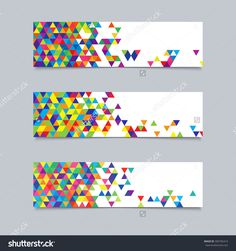 Colorful rainbow puzzle pieces forming circle vector graphic set of banners with triangular texture for business templates with colorful triangles for text reheart Images