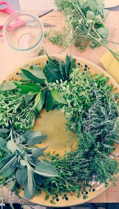 How to make a fragrant herb wreath for the holidays.