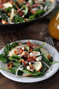 Spinach Apple Feta Salad : Used walnuts and raisins. The sugar/cayenne pepper mixture could be half amount. Also add a little bit of hot water to melt the sugar mix.