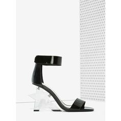 Jeffrey Campbell Starla Patent Leather Heel ($155) ❤ liked on Polyvore featuring shoes, pumps, black, black patent pumps, black patent leather shoes, high heel pumps, ankle strap pumps and black pumps
