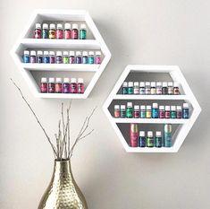 Home Nail Salon, Nail Salon Design, Nail Salon Decor, Salon Interior Design, Essential Oil Shelf, Nail Room, Hexagon Shelves, Crate Shelves, Young Living