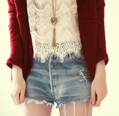 White lace and high waisted shorts <3