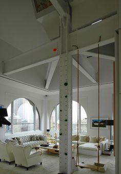 If you're lucky enough to have high ceilings and extra floor space, check out our 16 favorite examples of indoor swings.