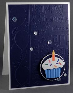 Birthday Cupcake: GKD Inverted Circle Stackers Nesting Dies - GKD Circles Stackers Layers Dies - Cuttlebug Happy Birthday EF - Darice Birthday 3 Pack EF - SU Night of Navy - Paper Bliss Cupcakes Adhesive Embellishments 39124-PE-101 - Doodlebug Rainbow Assortment Sequins - Wink of Stella Clear Glitter Pen