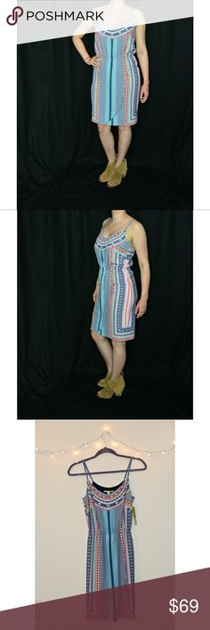 NWT Gianni Bini Multi Colored Sleevless Dress NWT! This beautifully patterned dress is incredibly comfortable and makes such a statement! Retail $119, reasonable offers accepted, or bundle for private discount! Model is 5'. Gianni Bini Dresses