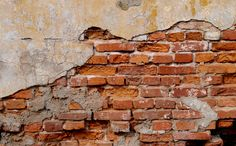 2 Old Orange Red Brick And Yellow Cracked Plaster Textures | ReUsage