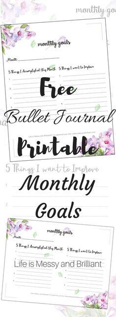bullet journal printable, monthly goals bullet journal
