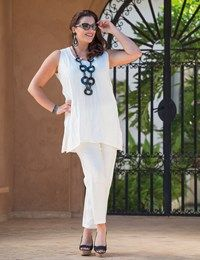 Plus size Kasbah cream crushed linen vest and narrow trouser