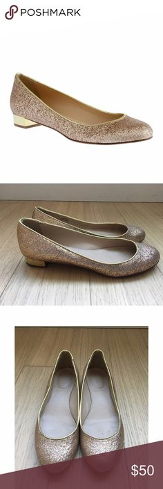 """J.Crew Janey Glitter Flats J.Crew Janey gold glitter flats with small 7/8"""" gold heel.  Worn only twice!  Leather sole. Made in Italy. J. Crew Shoes Flats & Loafers"""