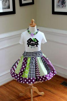 girls halloween outfit toddler girl halloween outfit damask polka dot chevron quatrefoil lime purple skirt  Girl halloween spider skirt set