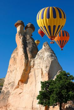 Turkey Travel Pictures - Hot Air Balloons over the rock formations near Goreme at sunrise, Cappadocia Turkey. See more inspiring Travel images at 2019 Paul Williams, photographer.