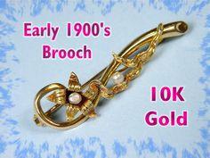 10K Gold - Victorian Pearl Floral Honeymoon Pin Brooch Original Box  @@ FREE SHIPPING @@