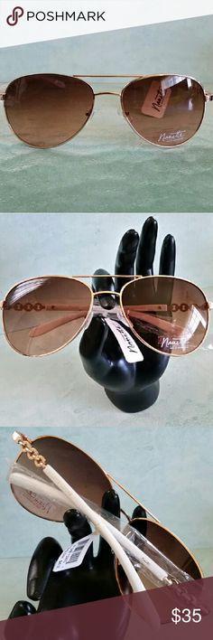 *Nanette Lepore* Aviators ● Final Price ● White aviator shades w/ Gold chain-link details. Nanette Lepore Accessories Sunglasses