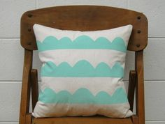 Hand Printed Cushion - Hills in Minty Green