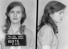 Mug shot ofJoan Trumpauer, a 19-year-old Duke University student and SNCC member who was arrested by the Jackson, Mississippi, policewith eight other activists as they arrived on a train from New Orleans to participate in Freedom Rides in early June 1961.