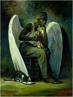 "John Carroll Doyle ""Blues Angel"" Textured Giclee on Canvas by John Carroll Doyle 2000 American Impressionist - Charleston Artist African American Art, American Artists, African Art, American History, Native American, Arte Black, Fantasy Kunst, Ange Demon, Black Art Pictures"