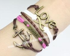 Love & infinity,faith & anchor bracelet,wax rope woven rope bracelet jewelry